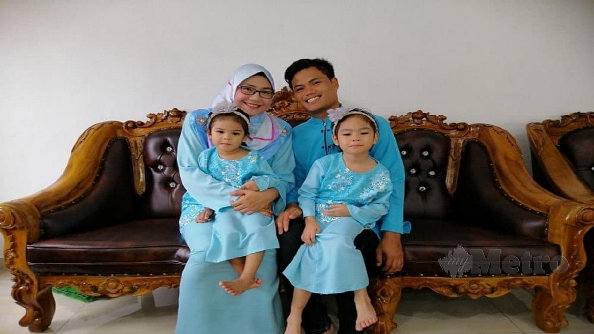 Mohd Hafis (kanan), Nur Farah Hidayah (kiri) dan dua lagi anaknya. FOTO ihsan pembaca